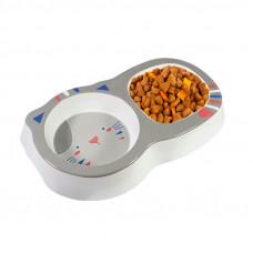 Миска для котов и собак двойная Taotaopets 115506 Grey