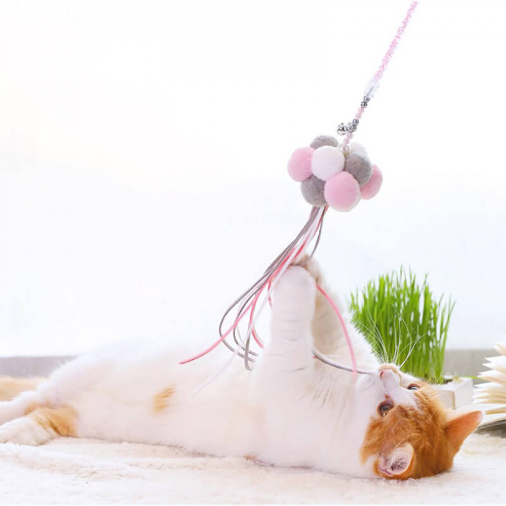Игрушка Палочка с шарами для кошек Hoopet W032 White+Pink+Blue