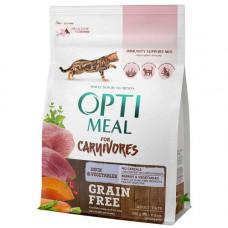 Беззерновой сухой корм Optimeal для взрослых кошек, с уткой и овощами, 300 г