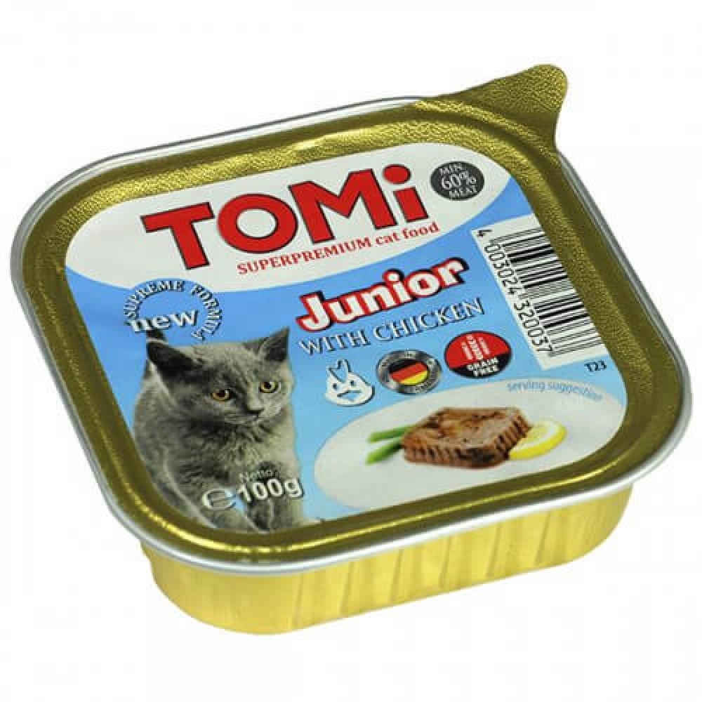 Консервы Tomi junior супер премиум, для котят с курицей, паштет, 100гр