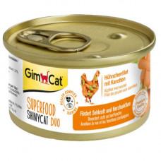 Влажный корм GimCat Shiny Cat Superfood для кошек, с курицей и морковью, 70 г