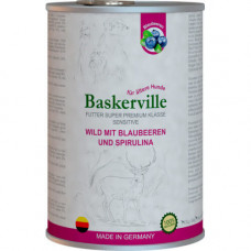 Влажный корм Baskerville Sensitive Wild Mit для собак, оленина с черникой и спирулиной, 400 г