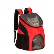 Рюкзак переноска Supretto для кошек и собак с сетчатыми вставками Красный