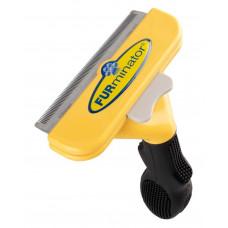Фурминатор HMD с кнопкой для чистки шерсти кошек и собак Черный с желтым