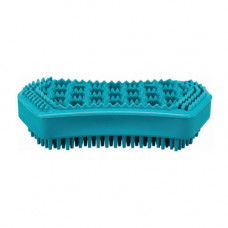 Массажная щетка Trixie с узким зубом для собак, резина, бирюза, 6х12см