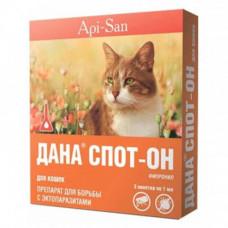 Капли на холку Api-San Дана Спот-Он против блох, вшей и власоедов для кошек весом от 3 кг, 3 х 0,1 мл