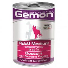 Влажный корм GEMON DOG WET Medium Adult кусочки с говядиной и печенью 0,415 кг