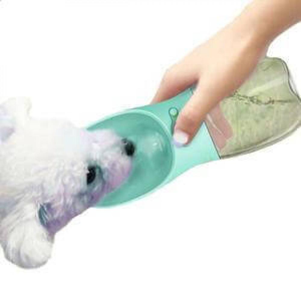 Портативная поилка SUNROZ Dog Bottle для собак 350мл Голубая