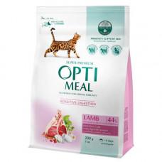 Сухой корм Optimeal для взрослых кошек с чувствительным пищеварением, с ягненком, 200гр