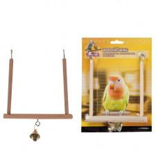 Игрушка Flamingo Wooden Swing S для птиц, деревянные качели с колокольчиком, 13х12 см