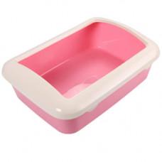 Туалет под наполнитель AnimAll с бортиком, 41х30х14см, розовый