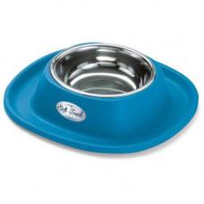 Миска металлическая Georplast Soft Touch с мягким ковриком для кошек и собак, 28x28x5.5см