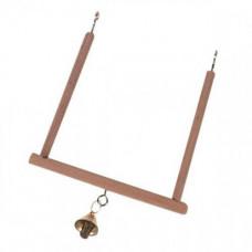 Качели Flamingo Wooden Swing деревянные, для птиц, с колокольчиком, S