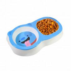 Миска для котов и собак двойная Taotaopets 115506 Синий