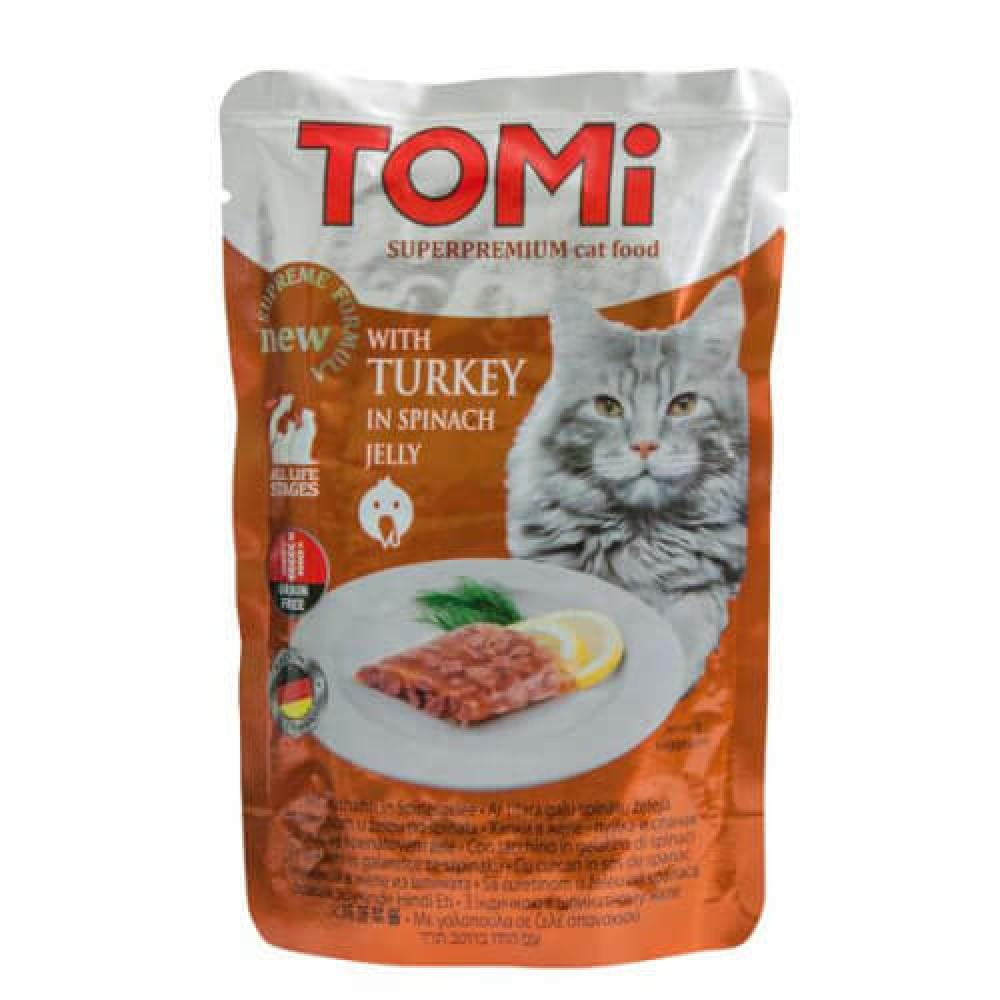 Консервы Tomi TURKEY in spinach jelly индейка в шпинатном желе, суперпремиум, для кошек, 100гр