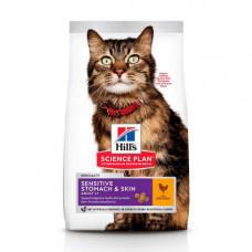 Сухой корм Hills Science Plan Adult Sensitive Stomach & Skin для кошек с курицей, 300гр