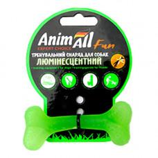 Игрушка AnimAll Fun кость для собак, люминесцентная, 8 см, зеленая