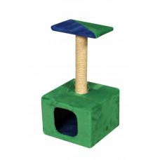 Домик-когтеточка (дряпка) Мур-Мяу Дом-1 в джутовой веревке Зелено-синий