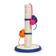 Когтеточка (дряпка) для кота столбик Taotaopets 011115 с игрушками 41x24x7см