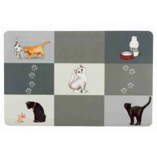 Коврик под миски Trixie Patchwork для кошек, серый, 44 х 28 см