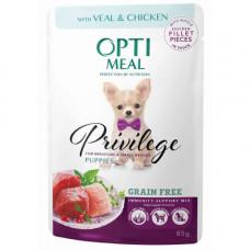 Беззерновой влажный корм Optimeal для щенков миниатюрных и малых пород, с телятиной и куриным филе в соусе, 85 г