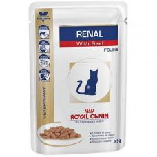 Влажный корм Royal Canin Renal при хронической почечной недостаточности у кошек, говядина, 85 г