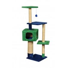 Домик-когтеточка (дряпка) Мур-Мяу Алиса в джутовой веревке Зелено-синий