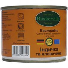 Влажный корм Baskerville для котов, индейка и говядина, 200 г