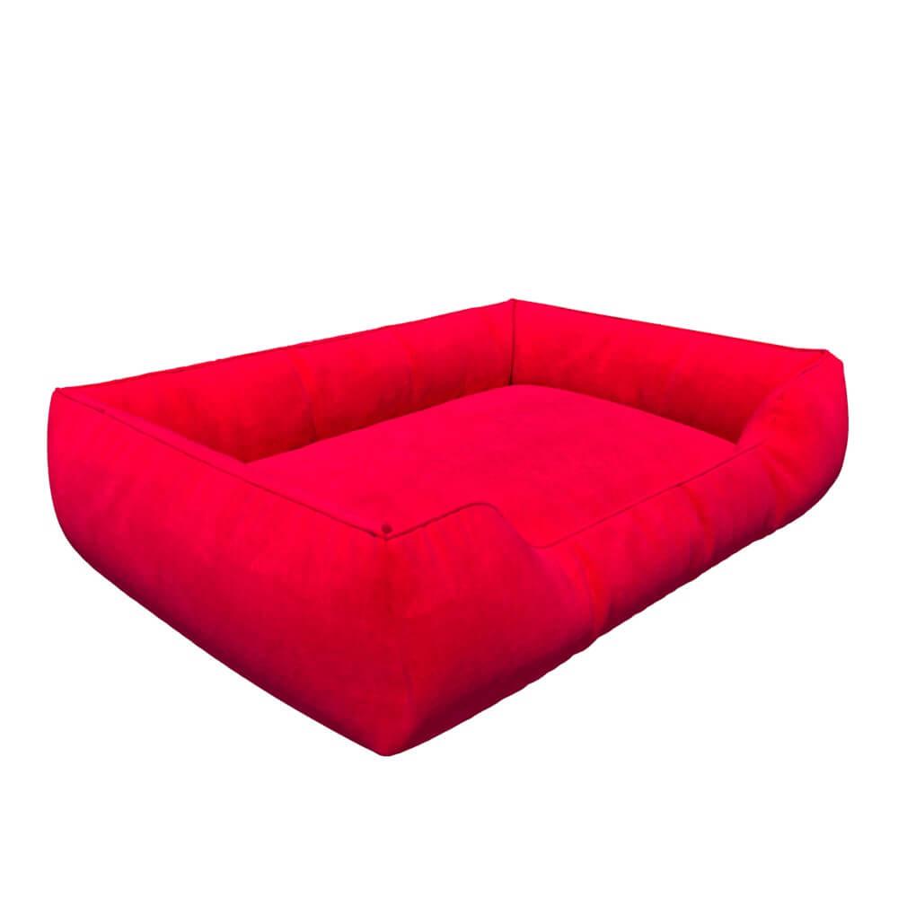 Лежанка для собаки HardYard 50х40см с бортами и съемным чехлом из прочной ткани и наполнителем из холлофайбера Красный