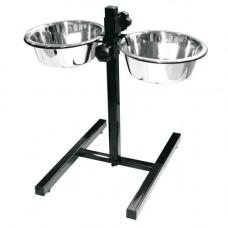 Стояк с двумя мисками Croci Dinner Set для собак, нержавейка, регулируемый, 2x20см, 1.9л