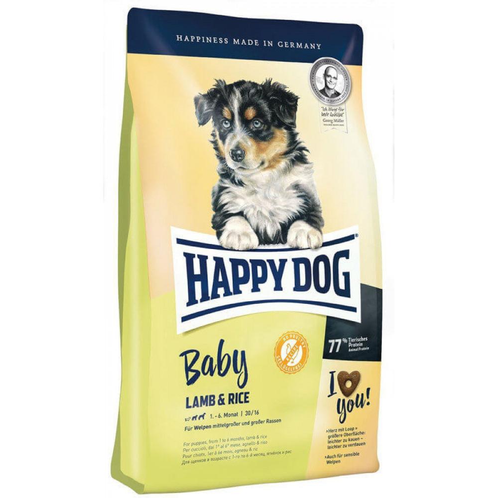 Сухой безглютеновый корм для юниоров средних и крупных пород собак Happy Dog Baby Lamb Rice 10 кг