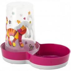 Автокормушка-автопоилка Moderna Tasty Friends Forever 2в1 для кошек и собак, пластик, ярко-розовая, 1.5 л