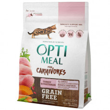 Беззерновой сухой корм Optimeal для взрослых кошек, с индейкой и овощами, 300 г
