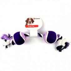 Игрушка Flamingo Cotton Rope Duotennis канат с двумя мячами для собак