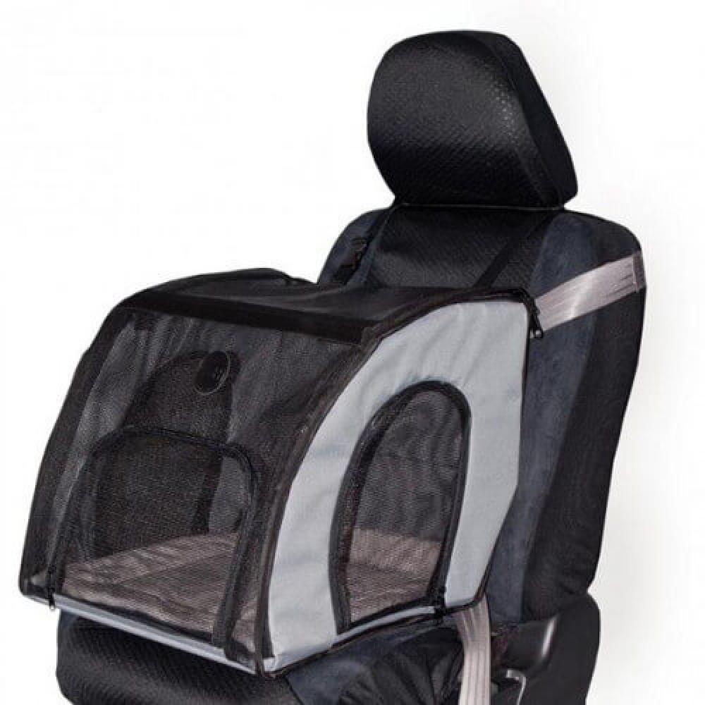 Сумка-переноска в автомобиль K&H Travel Safety для собак и котов Серая S 43×41×38 см