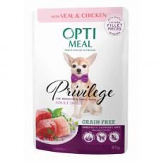 Беззерновой влажный корм Optimeal для взрослых собак миниатюрных и малых пород, с телятиной и куриным филе в соусе, 85 г