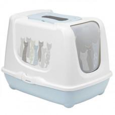 Закрытый туалет Moderna Trendy Cat Maasai для кошек c фильтром и совком, голубой, 57.4х44.8х42.7 см