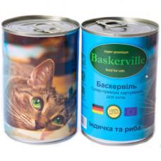 Влажный корм Baskerville для котов, индейка и рыба, 400 г