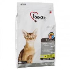 Сухой корм 1st Choice Adult Hypoallergenic без злаков, для кошек от 1 года, с уткой, 2.72кг
