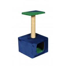 Домик-когтеточка (дряпка) Мур-Мяу Дом-1 в джутовой веревке Сине-зеленый
