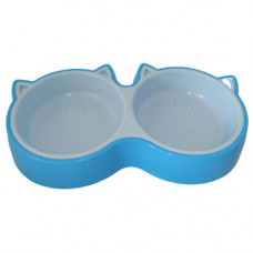 Пластиковая миска AnimAll для кошек 2х200мл, голубая