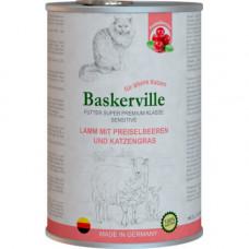 Влажный корм Baskerville Sensitive Lamm Mit Preiselbeeren для котов, ягненок с клюквой и кошачьей мятой, 400 г