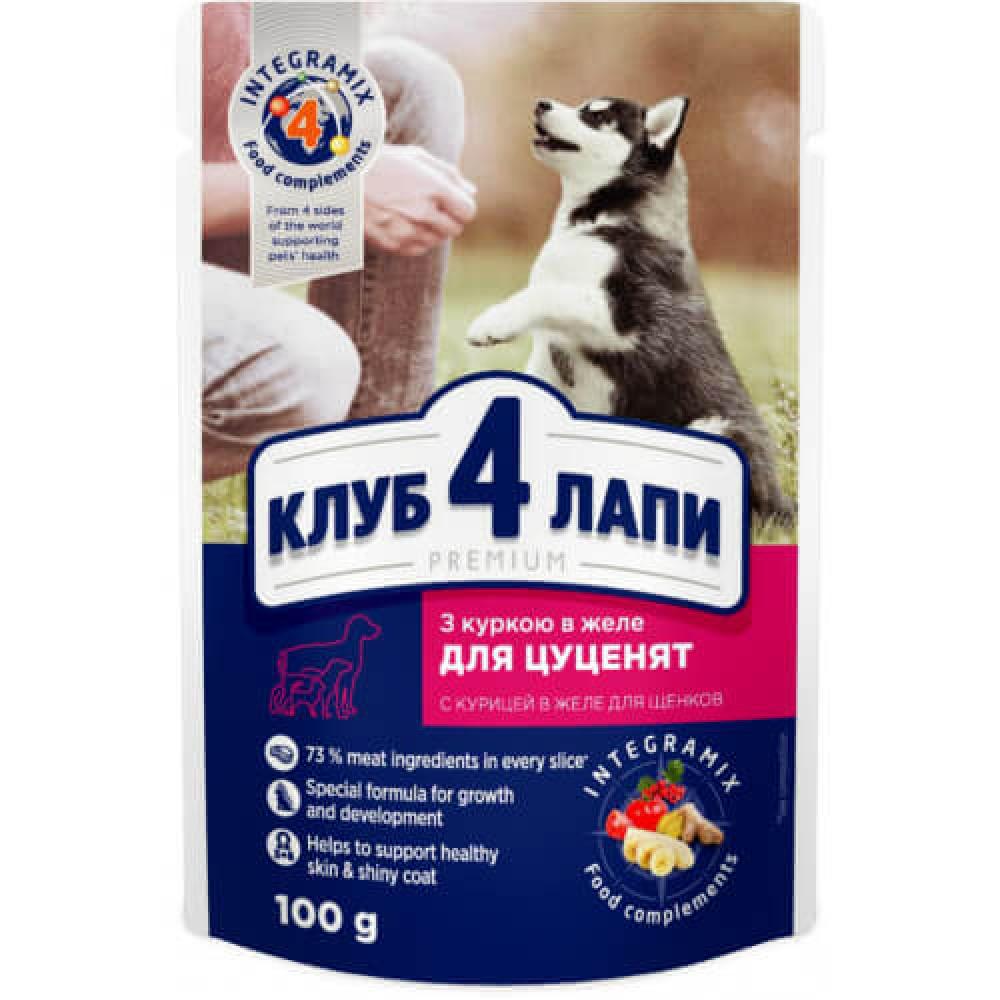 Влажный корм Клуб 4 Лапы Puppies All Breeds Premium для щенков всех пород, курица в желе, 100 г