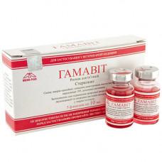 Раствор Micro-Plus Гамавит при инфекционных заболеваниях для животных, 10мл, 5 шт в упаковке, цена за 1 флакон
