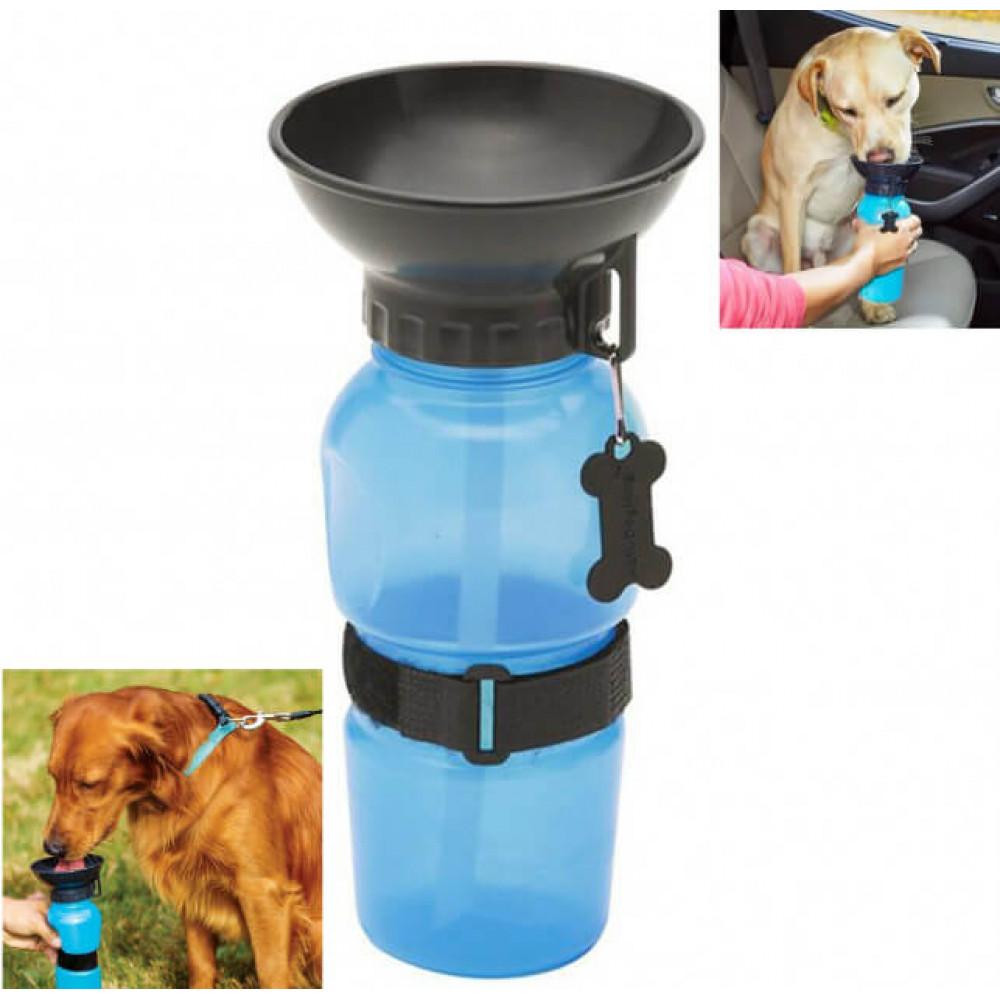 Дорожная портативная поилка для собак прогулочная бутылка с чашей для воды (3278841) Голубая