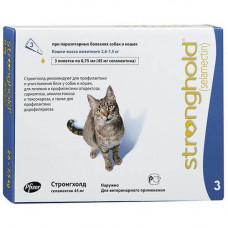 Капли Стронгхолд 6% от блох и клещей для кошек весом от 2.6 до 7.5 кг, 0.75 мл