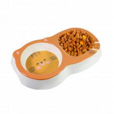 Миска для котов и собак двойная Taotaopets 115506 Оранжевый