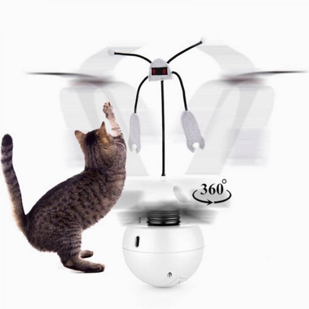 Игрушка для кошек Pet Elite Robot-E 3in1, шар – вертушка с лазером и привлекающим кота звуком