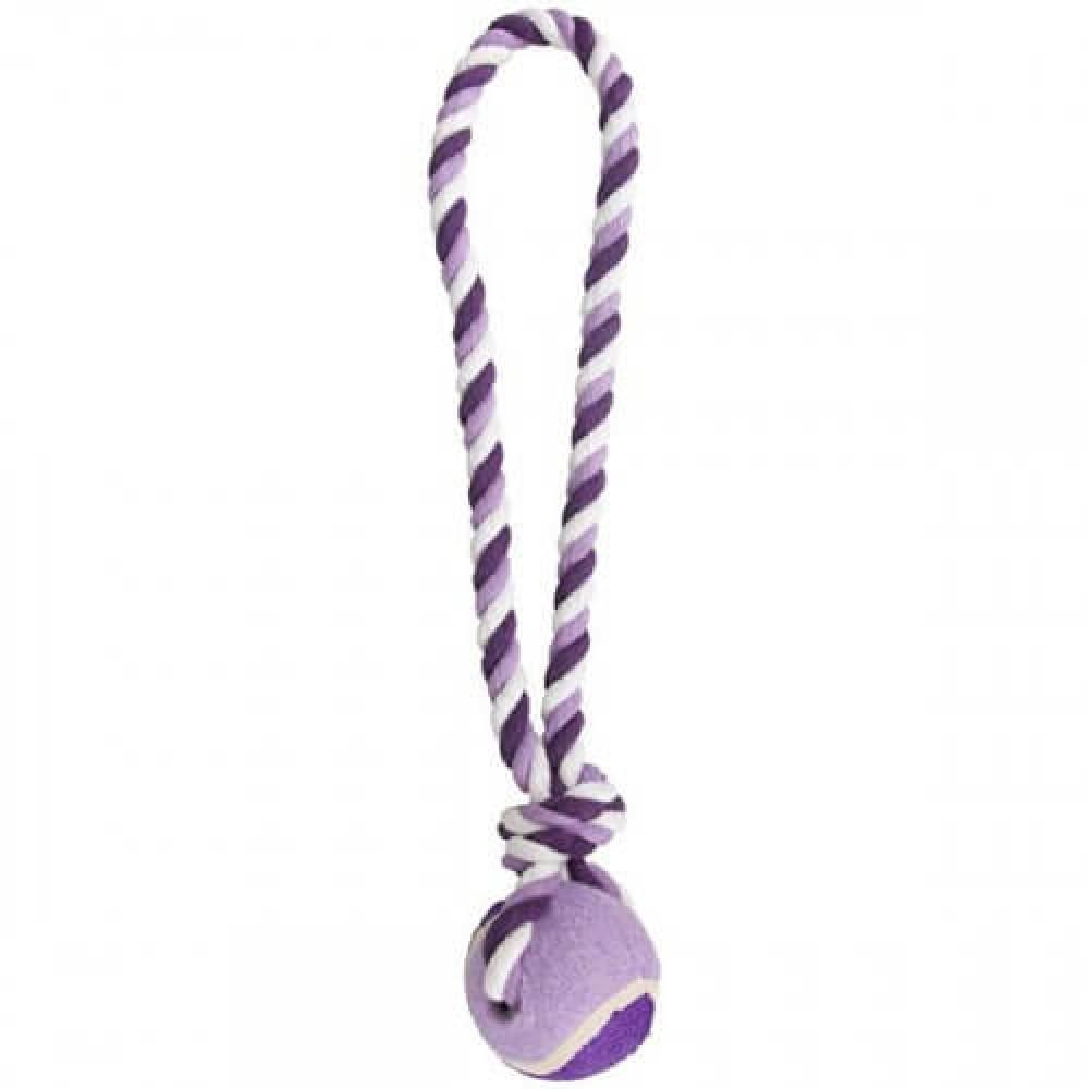 Игрушка Flamingo Cotton Rope With Tennis Ball мяч на канате для собак L 9.5х9.5х50см