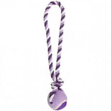 Игрушка Flamingo Cotton Rope With Tennis Ball мяч на канате для собак L 9.5х9.5х50 см